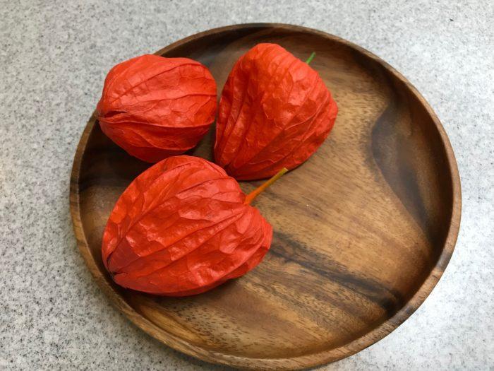お菓子や果物などと一緒にお皿や籠などに置いてお供えする。  この飾り方は、ホオズキ(鬼灯)がお皿に乗っている姿が可愛らしく、ホオズキの数は1つでもかまいません。小さなスペースでもお供え物と一緒に簡単に飾る事ができます。お皿の上に置くだけなので簡単に飾る事が出来るので、お子様と一緒に、お皿の上にホオズキ(鬼灯)を飾るのも優しい時間ですね。