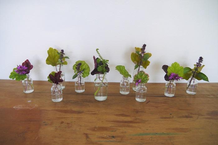 ヒューケラの葉に合わせて、実や大きめのお花など、安定感のあるものから入れていきます。