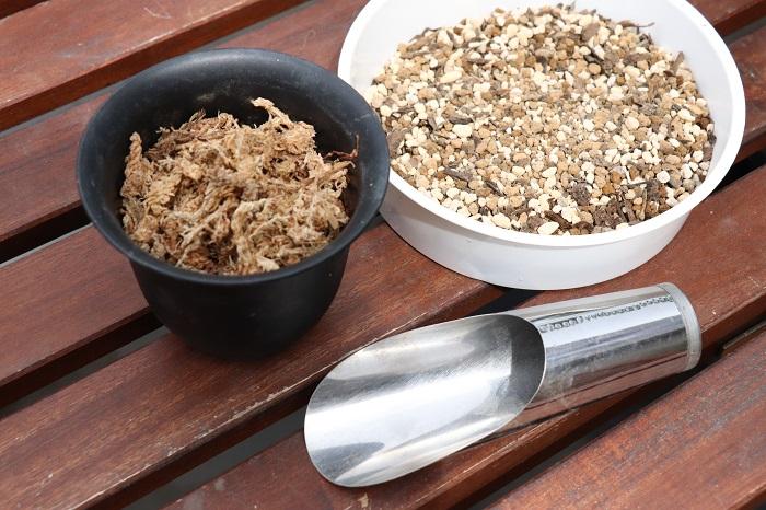 ・市販の培養土(「野菜、花用の土」または、「多肉植物、サボテン用の土」など) ・水苔(水でふやかしておきます。) ・土入れ