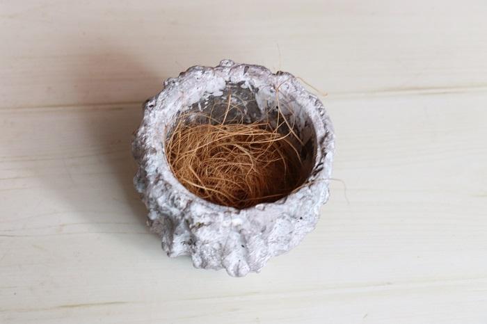 陶器の器にココヤシファイバーを入れます。ココヤシファイバーを入れることで、フェイクグリーンの茎を支えることができます。  新聞紙を小さく丸めたものをいくつか入れるなど、他の物をココヤシファイバーの代わりにすることができます。