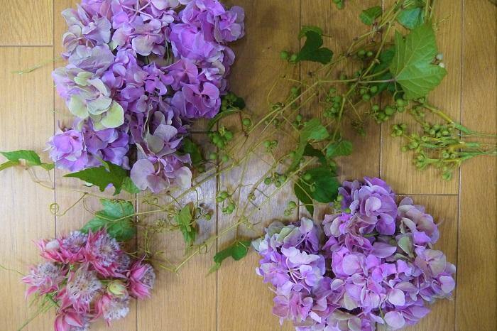 お花は大きな塊よりも、小房に分けてある方が軽やかな印象のリースになります。細かく分けすぎるとリースに留め辛くなるので、ワイヤリングします。