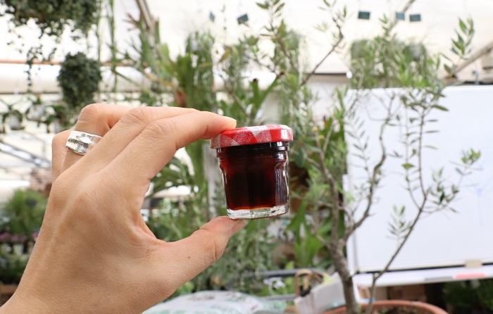 こちらは完熟オリーブのメープルシロップ漬けです。  岡井先生「完熟したオリーブの実の種を抜くか、ナイフで種に届くまで切り目を入れてから消毒済みのガラス瓶に入れてメープルシロップを注いで冷暗所で保存するだけ。ほろ苦さと甘味が絶妙なデザートになりますよ。ヨーグルトにかけても美味しいの。」  完熟オリーブが手に入ったらまず、これを作ってみたい!と思っています。どんな味がするのでしょう。楽しみでわくわくします。