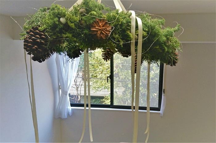 フライングリースは上から吊るして飾るので、出来るだけ軽く作りましょう。ベースも軽くしたいのでスチールワイヤーのシンプルなものにしました。
