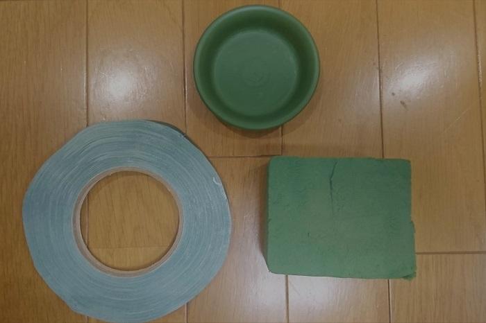 フローラルフォーム(6×6㎝にカット)  3号パオ皿  防水テープ
