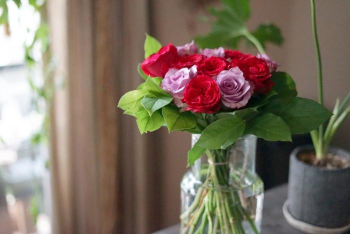 シンプルな花瓶にバラが映えています