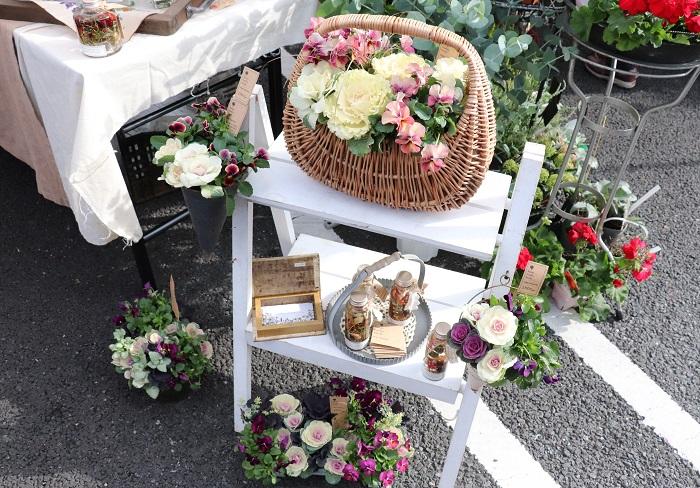 川崎にアトリエを構える、はな*いとし*こいしさん。  寒い冬から春に大活躍する美しい寄せ植えが並んでいました。こんな素敵な寄せ植えが玄関やお庭にあったら、寒い冬も明るい気持ちで過ごせそうですね。