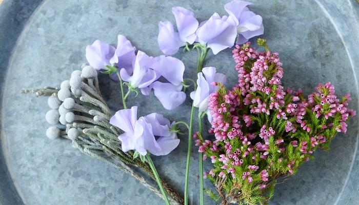 春の花のスイートピーは季節より少し早いので、冬っぽい花と組み合わせてみました。丸いシルバー色の実は、バーゼリア・シルバーブローニア。ピンクの花はエリカです。 スイートピーの色は、パープルだったら冬の雰囲気に合うかなと思い選んでみました。