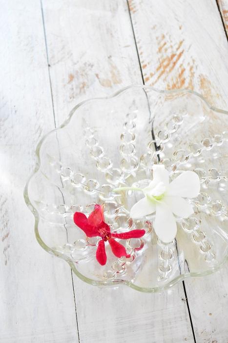 取り去った花はお皿に水を薄く張って飾っても長持ちします。  ランの日々のお手入れ  ■ランは高温多湿な環境が好きな植物です。直接エアコンの風が当たる乾燥しやすい場所、直射日光の当たる場所に飾るのは避けましょう。置き場所によって花持ちがかなり違います。  ■水を吸う断面積を広くしてあげるために、茎は斜めに切りましょう。  ■花瓶の水はまめに交換するか、交換が無理な場合は、切り花延命剤を使って、水を清潔に保つと花が長持ちします。  ■生けなおすときは、新たに茎を0.5mm~1cm程度、切り戻しをして、切り口を新鮮にすると、花の給水性が上がります。
