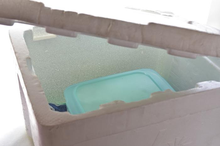 保温ボックスのフタ(今回は発砲スチロールの箱のフタ)をしめて発酵を待ちます。  これで準備は完成です!