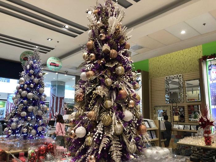 ベースのツリーはパープルなのですが、そこに日本でもよく見るボールの飾りに加えて、シダ植物と思われる葉がデコレーションされています。ツリーがもはやあまり見えませんね。。。