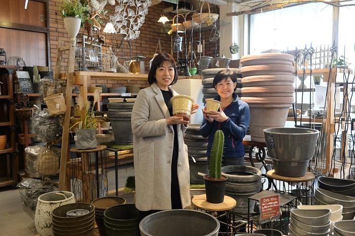 鉢も小さいものからビッグサイズまで様々あり、ここに来たら欲しい器が必ず見つかりそうな品ぞろえです。  渋谷園芸オリジナルの培養土もおすすめです。  (イエローのウィッチフォードの鉢が美しくて欲しくなってしまいました。)
