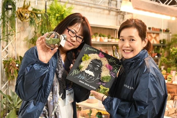 広々としたブース内では随時ワークショップを開催。おすすめは、ブラックボードに花材をあしらったオリジナルボードづくり。是非お試しあれ!
