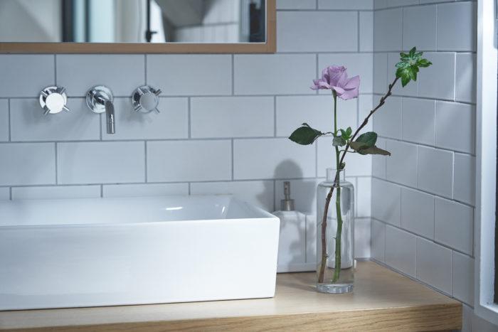 洗面台に飾られたアプローズ