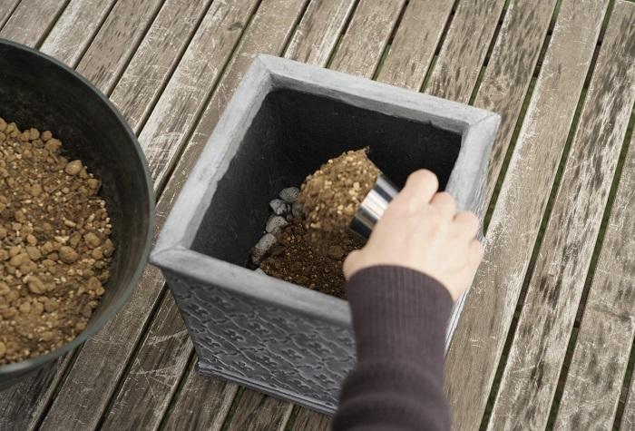 鉢底石の上に土を入れていきます。