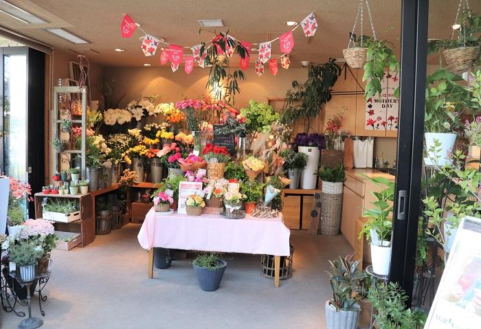 クラブハウス1階のフラワーショップでは、花束やアレンジメント、花苗や寄せ植え、ガーデニンググッズや野菜の種や苗なども販売しています。  貸菜園があり、カルチャースクールがあり、フラワーショップもあるという、植物好きにはたまらない場所です。