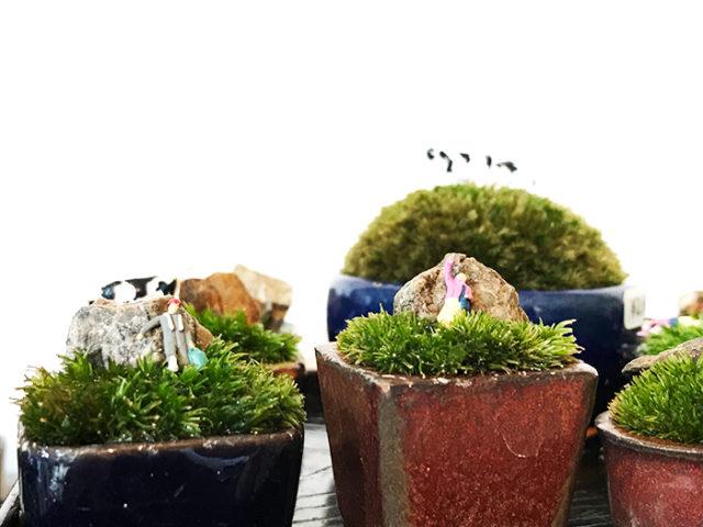 テラリウムや盆栽に添えられるフィギュアも揃います。人物、動物、キノコなどがありました。飾りやすい仕組みになっているので、ちょこんと乗せるだけで楽しめます。