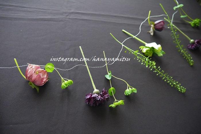 ドライフラワーに出来るお花のガーランドの完成です!