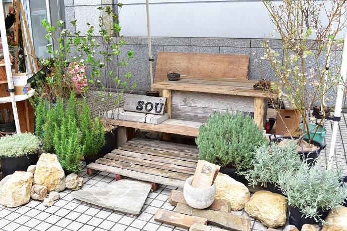 ジューンベリー、アロニア、ラベンダーなどの収穫できる植物とともに、SOUさんの素敵な世界観が広がっています。  「そう植物 そう暮らし」をコンセプトに、自然と調和した実りのある暮らしを作ることを考えて庭づくりをしているとのこと。