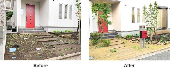 (Before)剥き出しの土に枕木とヤマボウシが植栽されている玄関アプローチ。雨が降ると土が流れ出して困っていたそうです。 (After)枕木の周りに芝を貼り、土留めとしました。玄関脇には爽やかな株立ちのモミジも植え込み、明るい印象に変わりました。