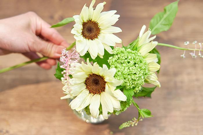 ヤマゴボウを一番高くなるように切り、中央に生ける。最後に葉の引っ掛かりを解いたり、花の向きなどを整える。