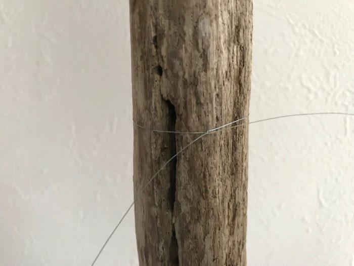 カッターで入れた切り込みにワイヤーを引っ掛けるように、試験管の後ろ側にワイヤーをまわして3回程ねじり止めます。