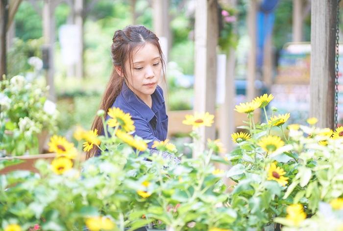 グリーンギャラリーガーデンズ本店に勤務し、寄せ植えやハンギングバスケットの見本鉢や注文品の制作、植物の手入れや陳列、花束やアレンジメントの制作、切り花の活け込み、お店のInstagramの情報更新などをしています。