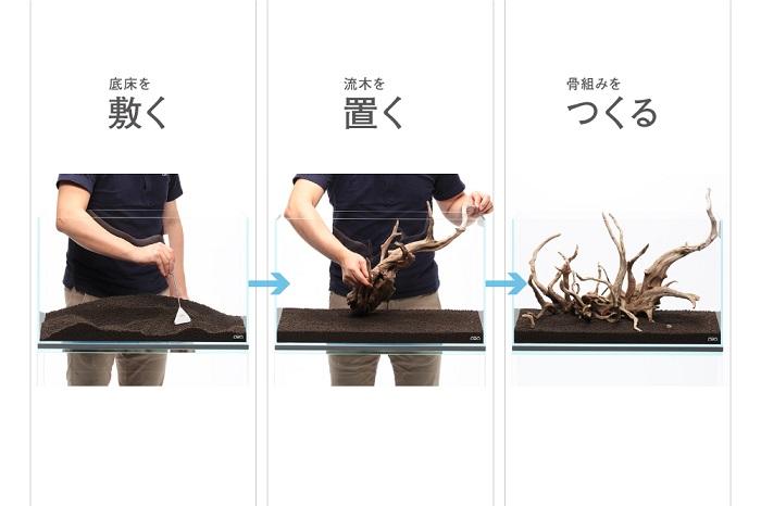 まずは、水槽の中にソイル(土)を敷きます。流木などの自然素材を使って、骨組みをつくりましょう。