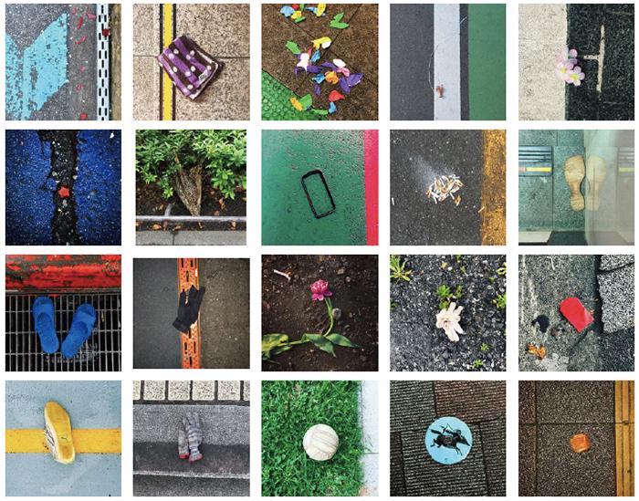 道に落ちているものや、路上の園芸、街中の色彩など、「路上のはみだしもん」を観察しているSABOTENS。