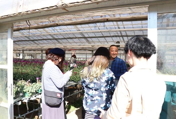 大栄花園に到着し、いよいよ待望の農場見学です。2万5000鉢ほどのシクラメンが育てられているハウスに入って行きました。