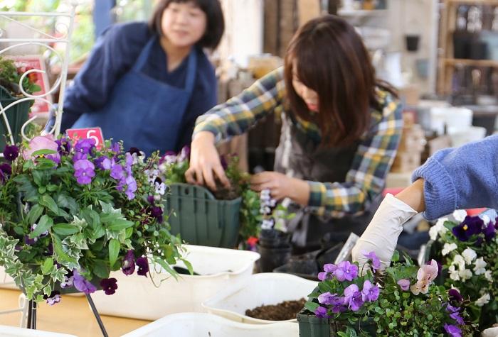 お店の園芸教室に来ていただき、寄せ植え作成時に声をかけてもらえればすぐ行くので大丈夫ですよ(笑)。