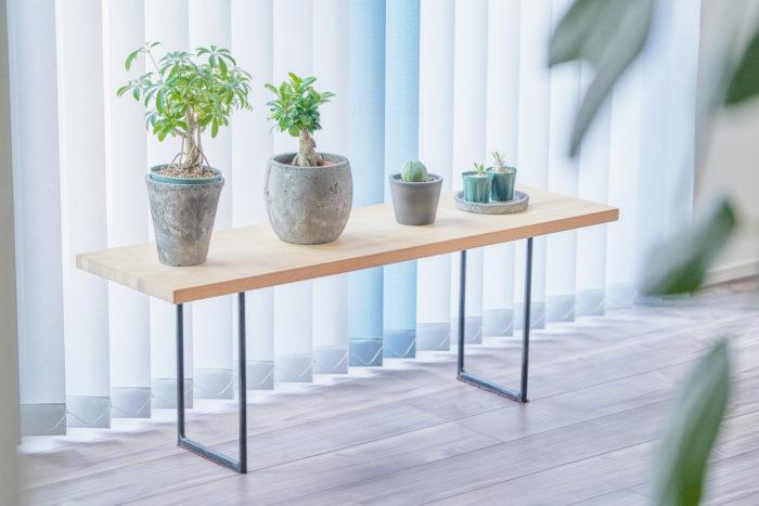 30分ほどで完成させた窓際のベンチ。日当たりも良く、植物たちも気持ち良さそう。
