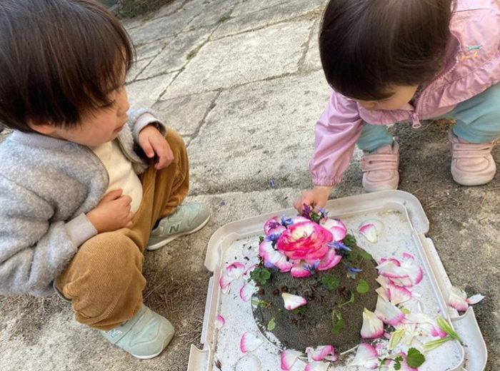 @saki_hirahira  お庭に春がきたことをお祝いし、小さなパティシエさんがお花のケーキを作ったそう!
