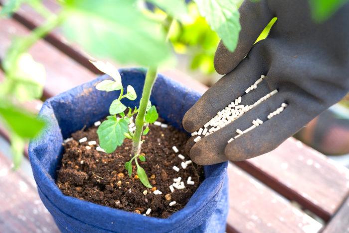 花だけでなく、家庭菜園で育てる野菜のまわりにも撒くことができます。天然成分由来なので、収穫の直前まで使用することができます