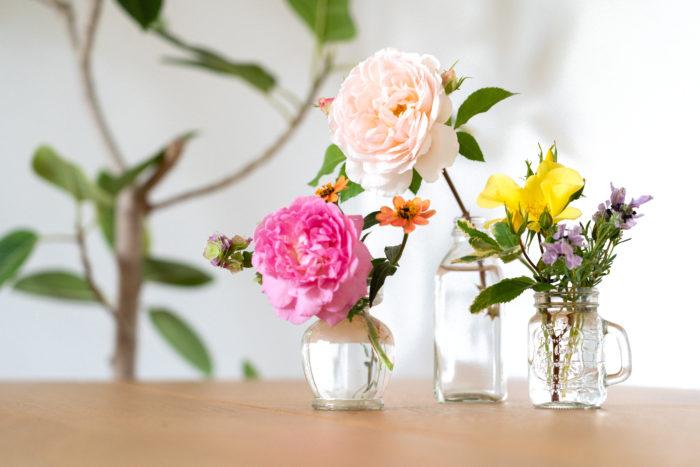 小さなスペースでも気軽に楽しめる「フルーリーテラス」なら、庭がなくてもバラのある暮らしを楽しむことができます。 また、バラと草花を切り花にして楽しむこともできます。食卓やリビングがパッと明るくなりますよ♪