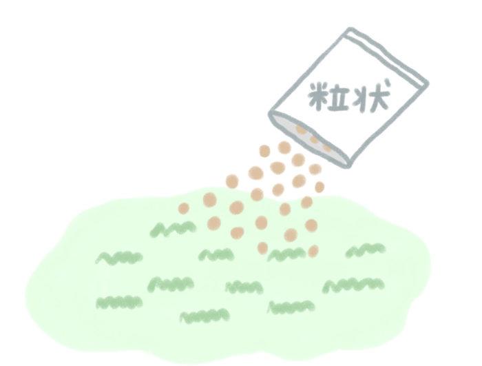 粒状タイプは広い範囲の雑草を長い間抑制するのにおすすめ。たくさんの面積にまけるので、処理する広さに対しての費用も安くすみます。粒状タイプの使用ポイントは、雑草の発生前や、草丈がまだ低いうちに散布して予防すること。根から薬剤が吸収されるので、雨の後に散布するのが効果的とのことでした。