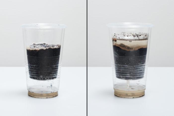 【比較実験】(左)モイスト成分ありの土(右)モイスト成分なしの土