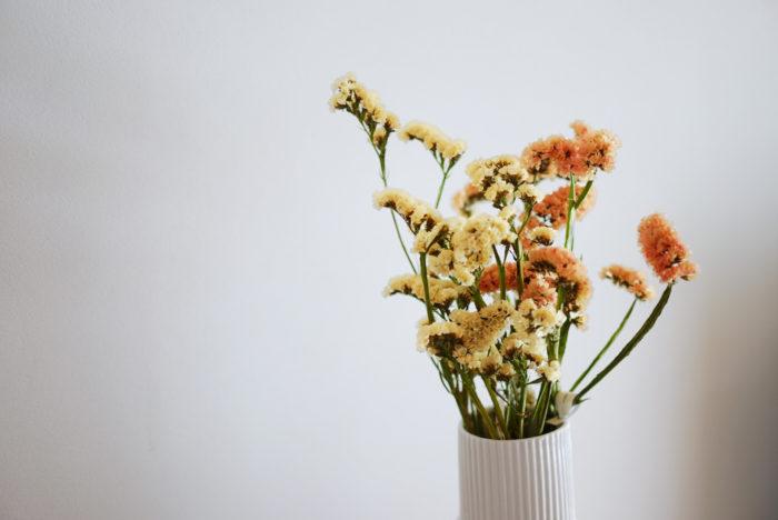 普段はお花を入れている花瓶に、水を入れずにそのまま挿せば、テーブルの上や玄関など、場所を選ばずに置くことができます。そんな抜群の使い勝手のよさが魅力です。茎がぽきっと折れやすいのでそれは注意してくださいね。