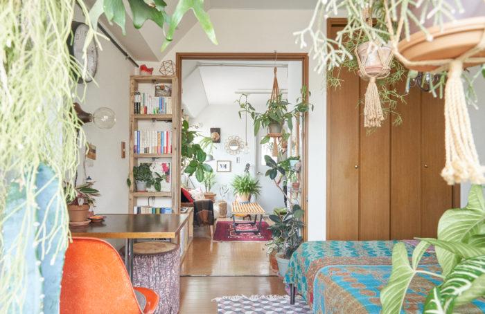 """ノスタルジックなムード漂う、築43年のマンションに住んでいるSHINPEIさん。ディスプレイのコンセプトは""""モノが持つ個性を理解する""""ことだそうです。「昭和レトロな部屋なので、それに合わせて家具やファブリックの色、素材を選んでいます」。植物に関しても、配置する場所を決めてから買いに行くのがマイルールなんだとか。「僕の中で、""""植物は命あるオブジェ""""。ここにはどんな植物を置こうか。そんなことを考えている時間がすごく楽しいんです」。手前にハンギングした植物、その奥にはベッドやテーブル、さらにその奥には本棚やダイニング。こういったレイヤーをあえて複数設けることで、見た目において奥行きが出るのだそう。"""