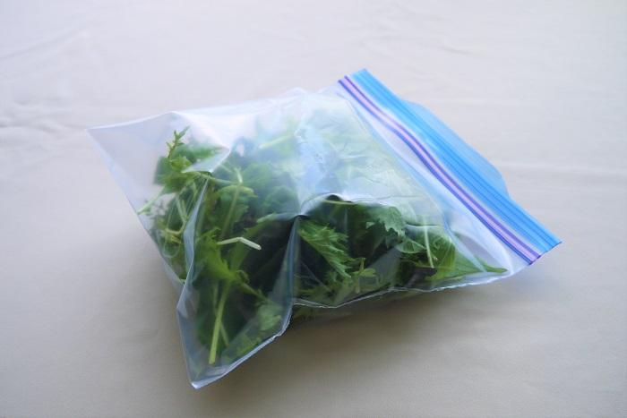 ベビーリーフの保存方法を紹介します。  よく言われるのがベビーリーフを水で洗って軽く水気を切り、キッチンペーパーで軽く包んでポリ袋に入れる方法。これで1~2日は鮮度の良い状態を保てます。  ここからさらにベビーリーフを入れたポリ袋に、ふーっと勢いよく息を吹き入れて密閉します。この方法で3~4日は長持ちします。葉物保存の秘儀です。  植物は二酸化炭素を必要とするので、少々の水分と二酸化炭素が充満した袋の方が鮮度を保てるようです。この保存方法は他の葉物野菜にも応用できます。ぜひ試してみてください。