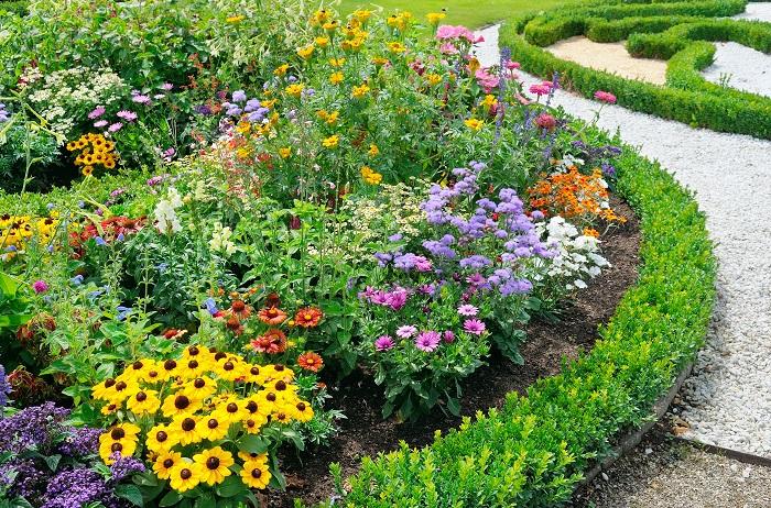 花壇にするスペースをデザインするところから始めてみましょう。花壇のデザインの基本はお庭全体を空の上から眺めたような気分になって平面で考えるようにするとうまくいきます。お庭の1ヶ所だけを見るのではなく、全体を捉えるようにして見ると、お庭の雰囲気に調和した花壇をデザインしやすくなります。