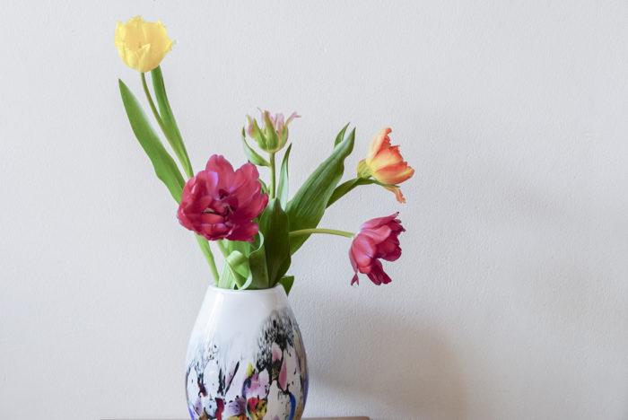 2月も終盤になり、春めいた陽気の日も増えてきました。花の市場もたくさんの春の花で華やいでいます。中でも「今年は一段と可愛いよね!」とスタッフの中で話題に上がるのがチューリップ。咲き方も、色も、バラエティに富んでいるので、好みの品種を探す楽しみもあります。今回はチューリップを生ける際に知っておきたいポイントをご紹介しますね。