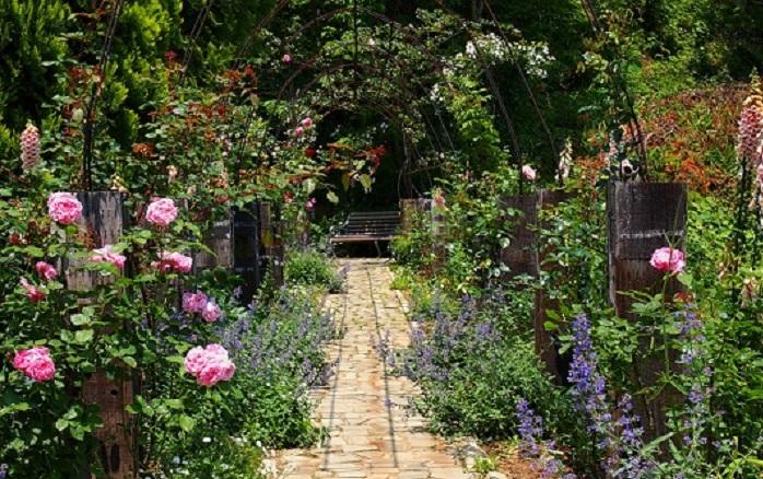 イングリッシュガーデンとは、グリーンをたくさん使った自然の景色そのもののような庭のこと。イングリッシュガーデン(English garden)は直訳すると英国式庭園、英国式庭園は風景式庭園とも呼ばれます。言葉の通り、風景画のように木々が風に揺れ、水が流れ、花が咲き誇る、自然あふれる庭園です。