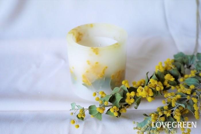 ボタニカルキャンドルとは、ドライフラワーやドライフルーツ、押し花などの植物が入ったキャンドルです。キャンドルの素材は、パラフィンワックス、ソイワックス、ジェルワックスなどさまざま。火を灯すとキャンドルの中の花や実が透けて見えるのが魅力です。  ボタニカルキャンドルは手作りできます。季節の花を閉じ込めたオリジナルのボタニカルキャンドルを作ってみましょう。