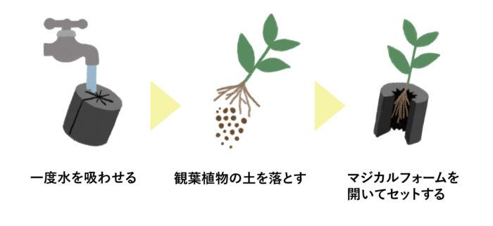土を落とした観葉植物の根を挟み込むだけ!「切れ込みタイプ」